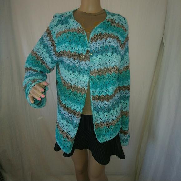 f504f72684 j jill Sweaters - J Jill XL turquoise crochet sweater